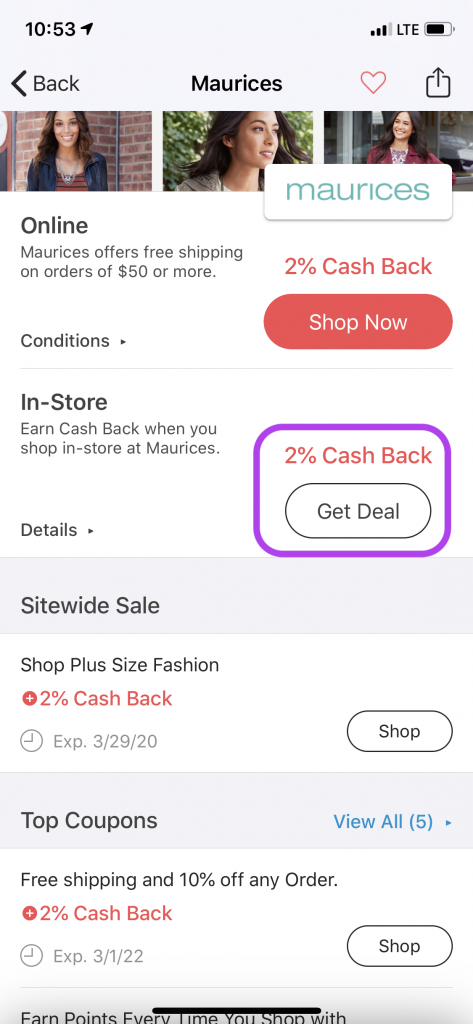 Get deal in app