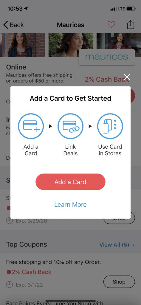 Linking a card in the Rakuten app