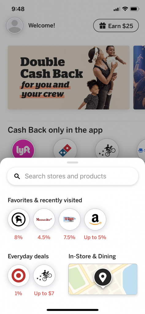 Rakuten App In Store and Dining Cash Back