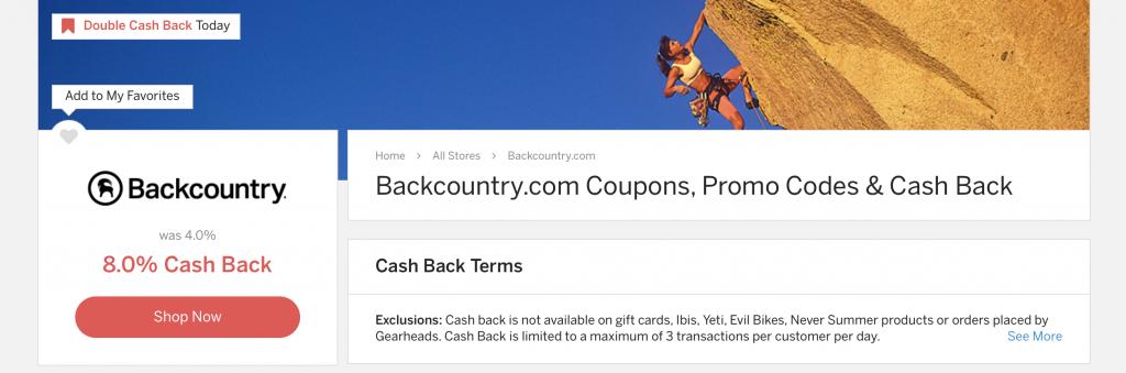 Backcountry Double Cash Back with Rakuten