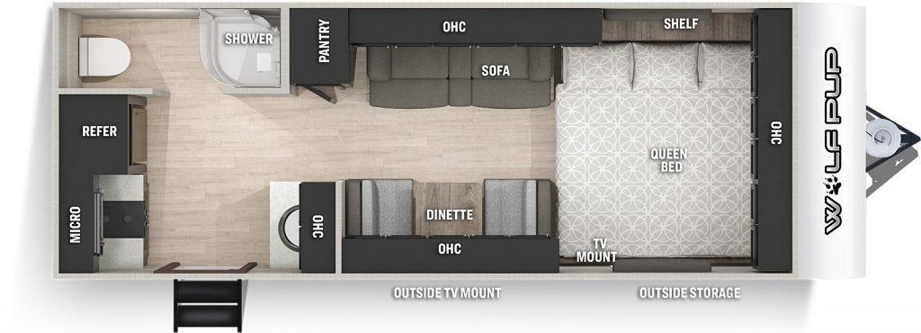 wolf pup camper floor plan 16HE
